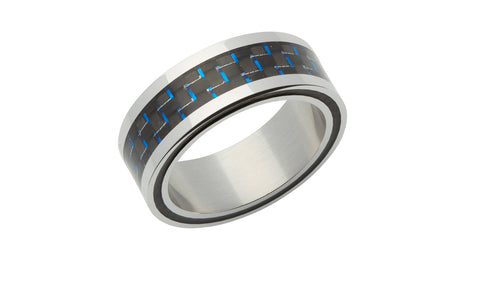 Steel Ring with Blue Carbon Fibre R9182