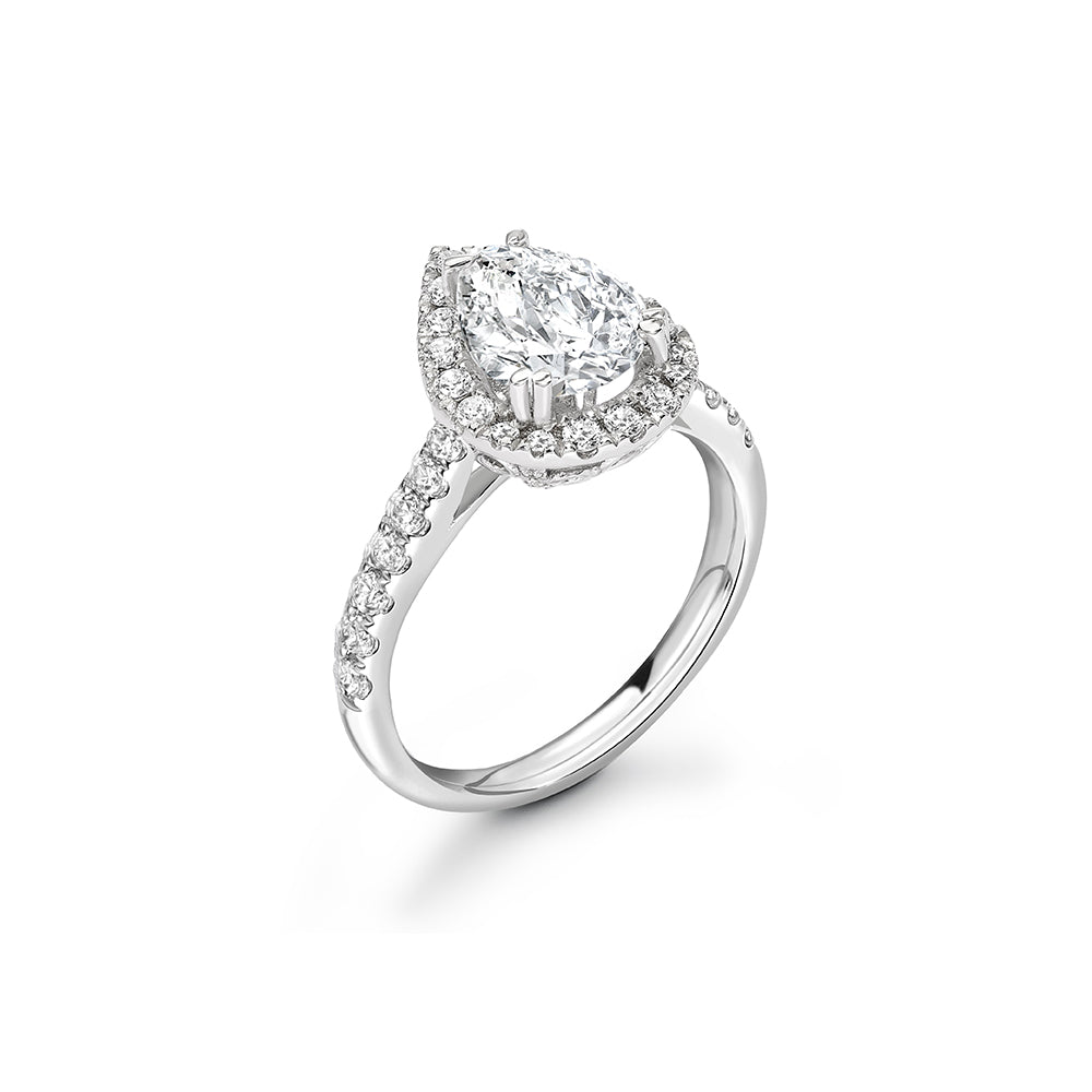 Platinum Teardrop Halo Diamond Ring