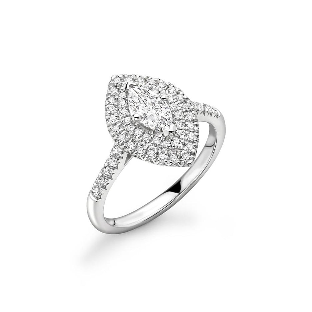 18ct White Gold Marquise Cut Double Halo Diamond Ring