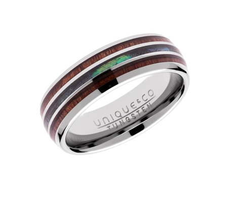 Tungsten Ring with Wood and Abalone Shell Inlay TUR-100