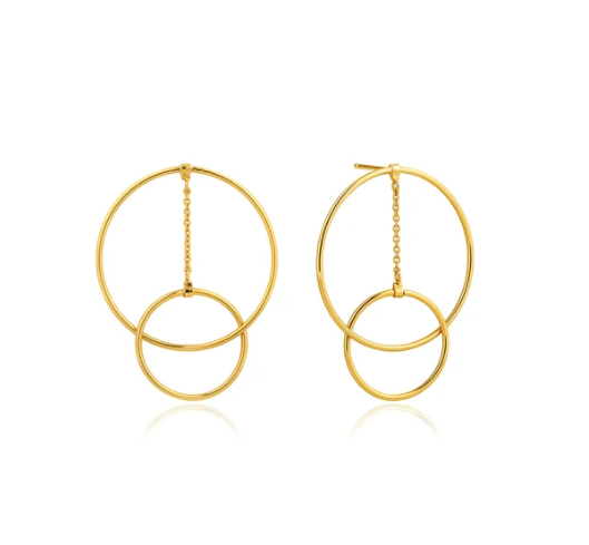 Gold Modern Front Hoop Earrings E002-04G