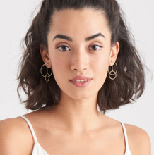 Load image into Gallery viewer, Gold Modern Front Hoop Earrings E002-04G