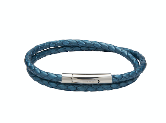 Metallic Blue Leather Bracelet with Steel Clasp B437BM