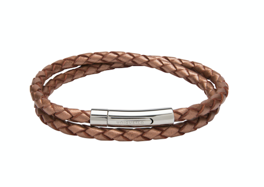 Copper Leather Bracelet with Steel Clasp B437CO