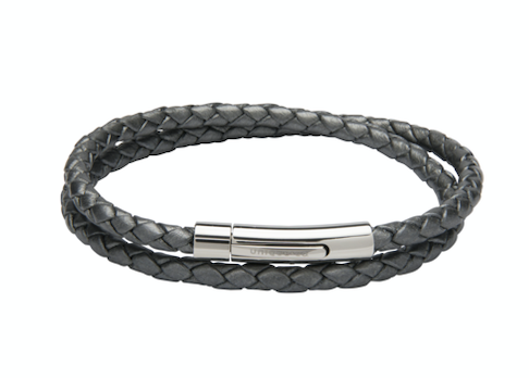 Silver Grey Leather Bracelet with Steel Clasp B437SG