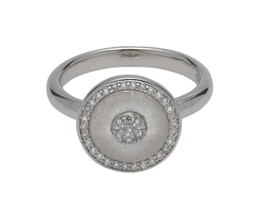 Satin Pave Cubic Zirconia Disc Ring MR-715