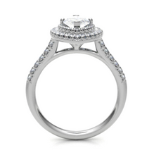 Load image into Gallery viewer, 18ct White Gold Marquise Cut Double Halo Diamond Ring