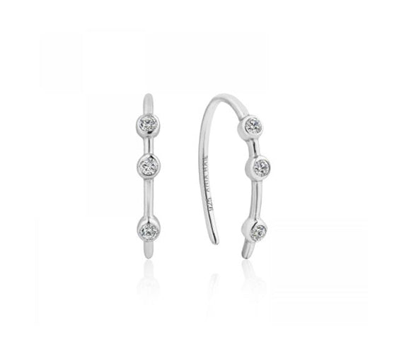 Silver Shimmer Stud Hook Earrings E003-07H