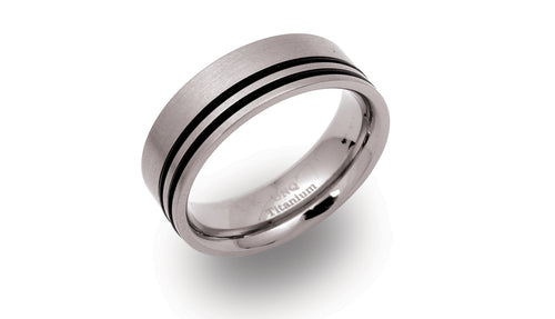 Titanium Ring with Black Rubber TR-38