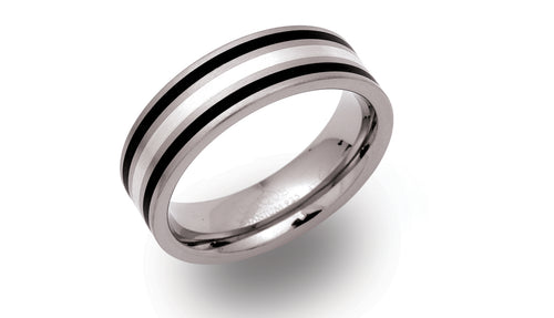 Titanium ring with Silver & Black Inlay TR-48