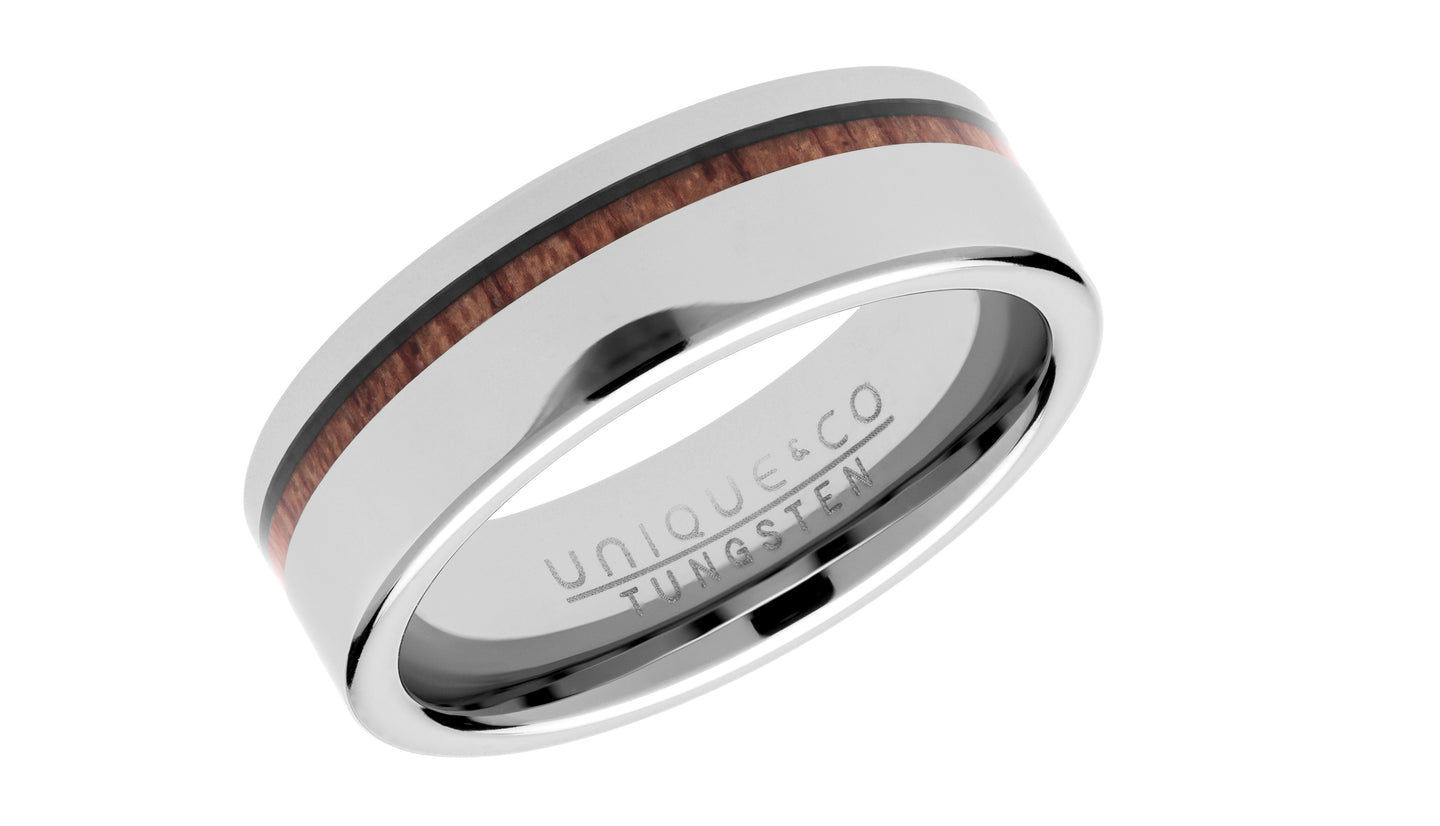 Tungsten Ring with Wood Inlay TUR-104