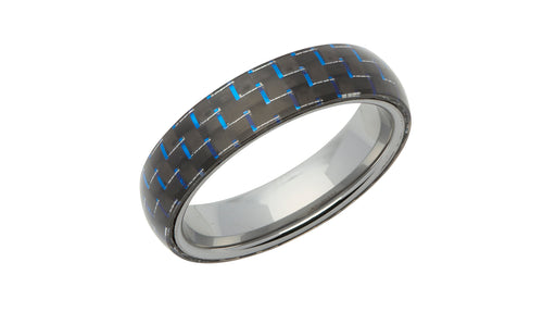 Tungsten Ring with Blue Carbon Fibre TUR-60