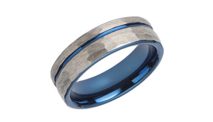 Tungsten Ring with Blue and Hammered Effect TUR-81