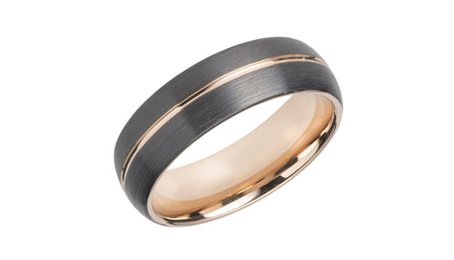 Tungsten Ring with Black and Rose TUR-85