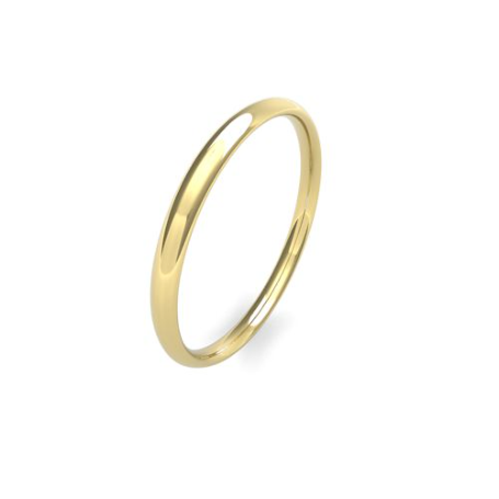 Yellow Gold 2mm Wedding Band | Traditional Court | Light Weight