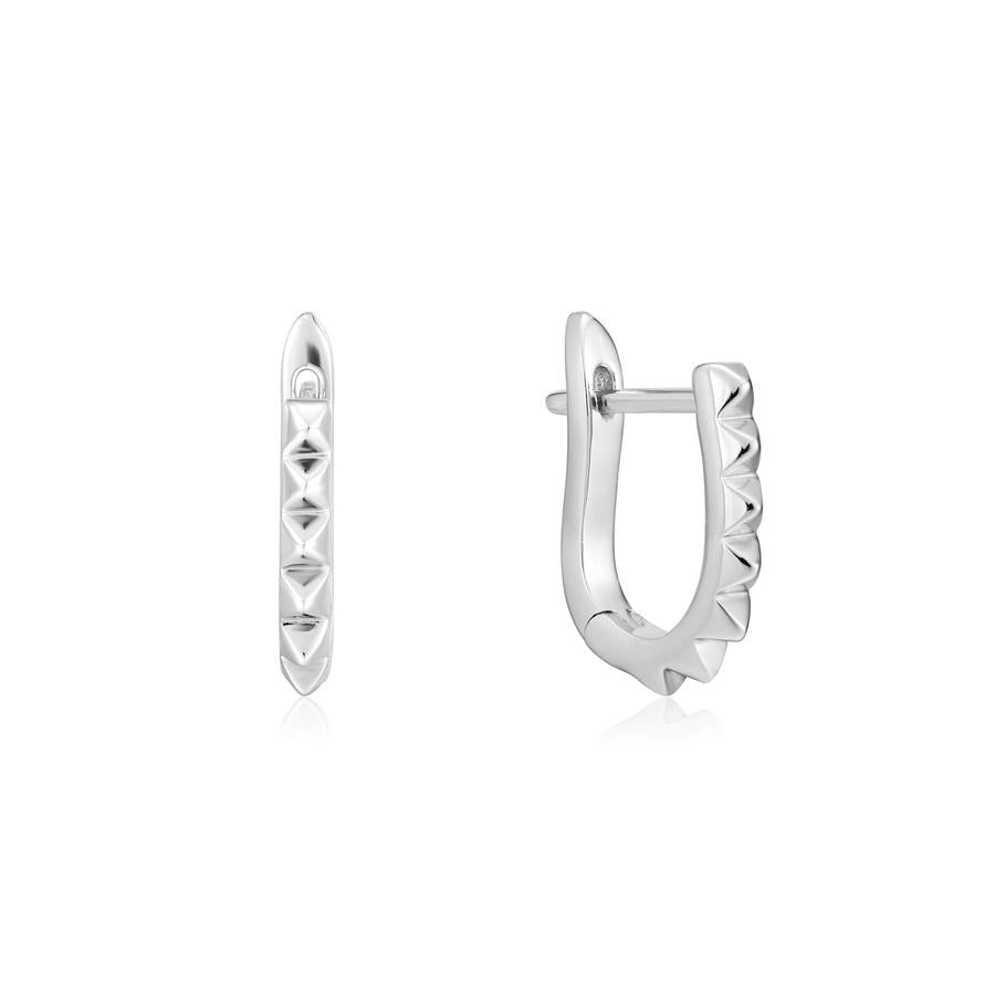 Silver Spike Huggie hoop Earrings E025-07H