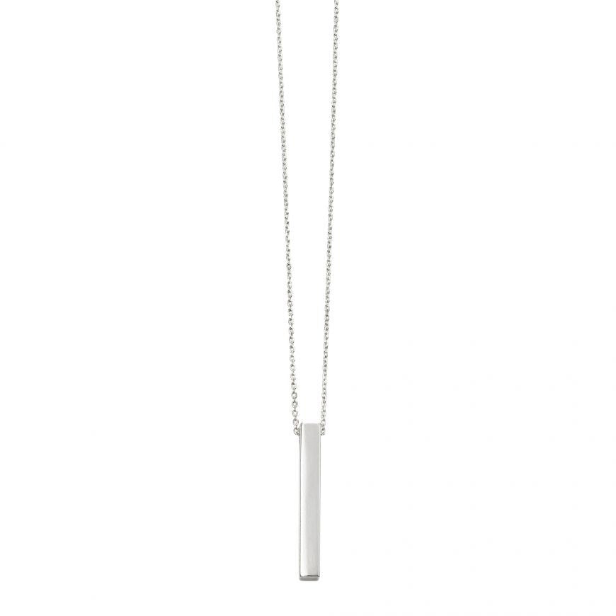 Silver Engravable Bar Necklace