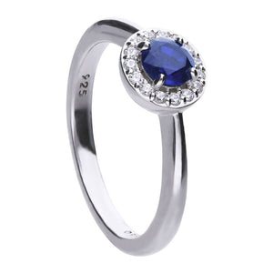 Blue Round Solitaire Pave Set Ring R3636
