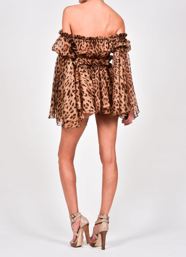 Ava Blouse in Leopard Print Silk