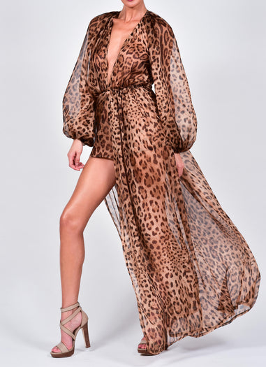 Belle Maxi Kaftan and Shorts in Leopard Print Silk