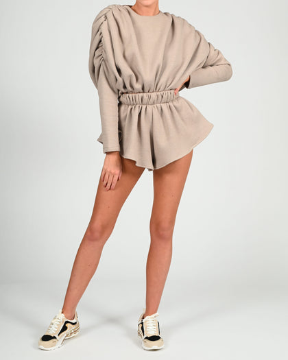Alex Sweatshirt Bodysuit in Beige Jersey