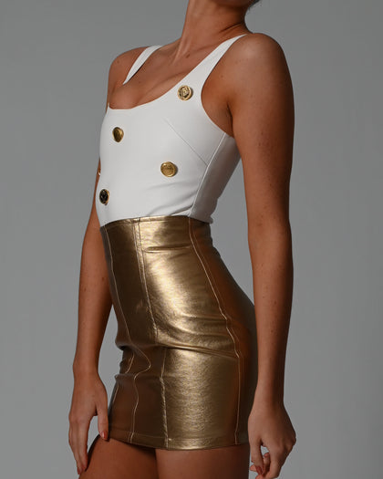 Milan Bodysuit in Ivory Leather