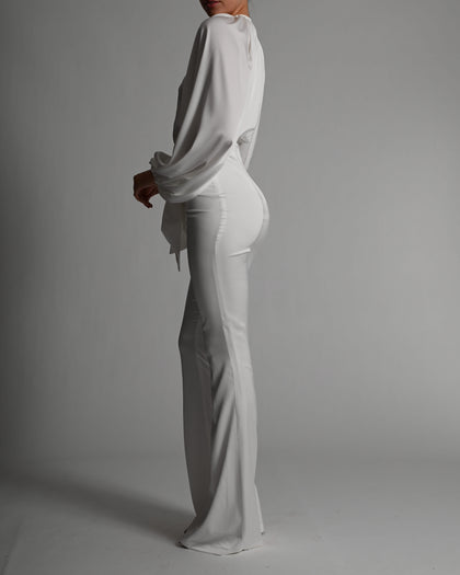 Beaudelle Flares and Bodysuit in Ivory Satin