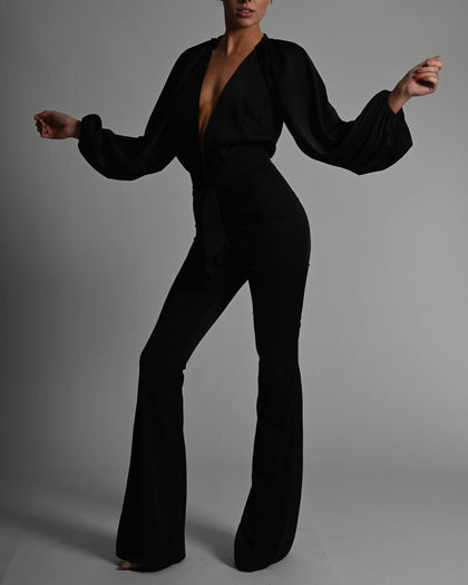 Beaudelle Flares and Bodysuit in Black Satin