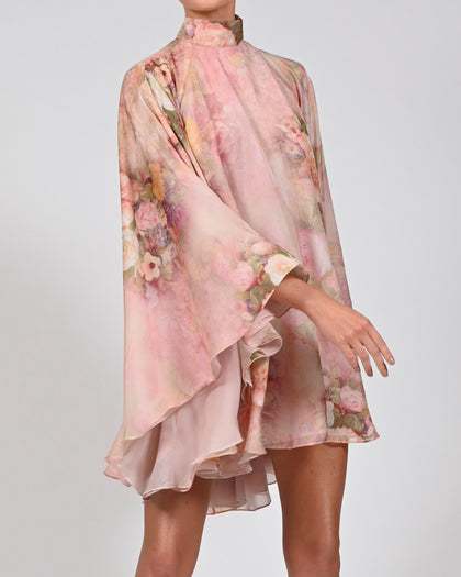 High Neck Lorena Dress in Rose Silk