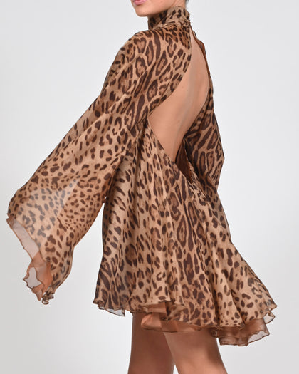 High Neck Lorena Dress in Leopard Silk
