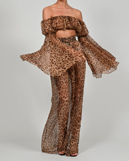 Ava Crop Top and Natasha Trousers in Leopard Silk