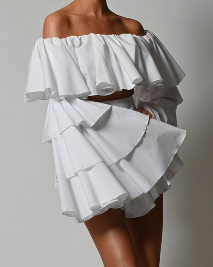 Madonna Shorts in White Poplin