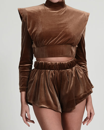 Serena Top in Coffee Velvet