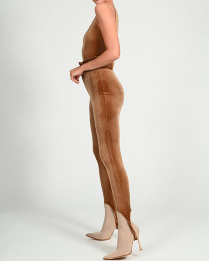 Martina Trousers in Coffee Velvet