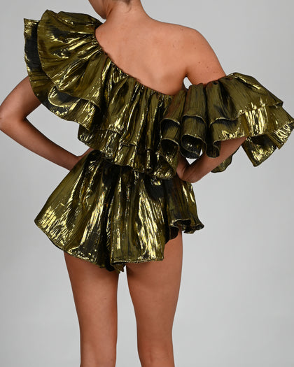 Shelby Playsuit in Metallic Green