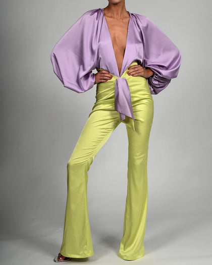 Beaudelle Flares and Bodysuit in Lilac and Lime