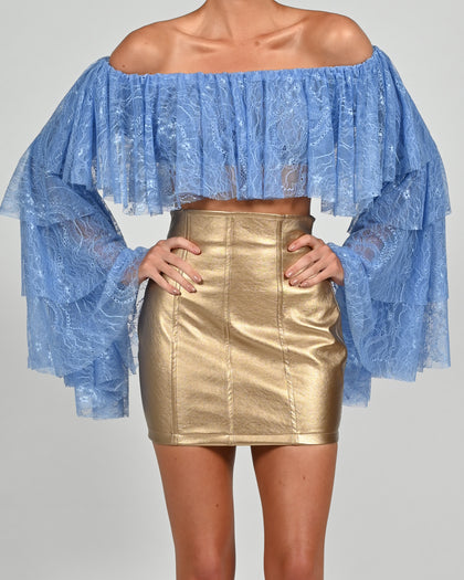 Madonna Top in Cornflower Lace