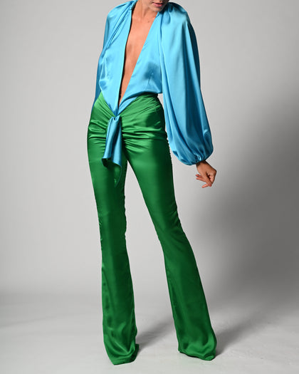 Beaudelle Flares and Bodysuit in Turquoise and Green Satin