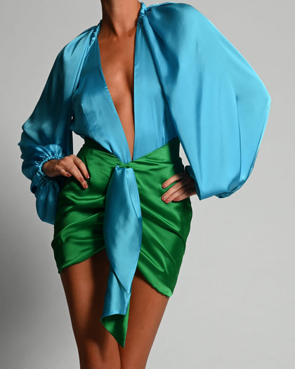 Beaudelle Set in Turquoise and Green Satin