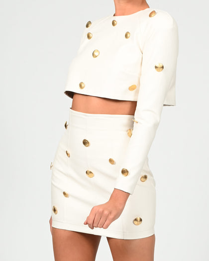 Milan Top in Ivory Leather