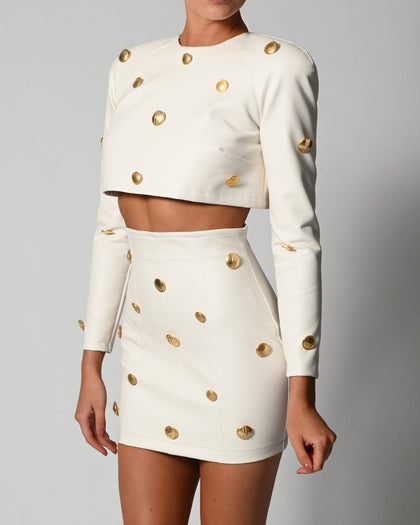 Milan Top and Skirt in Ivory Leather