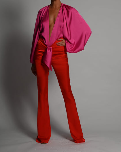 Beaudelle Flares and Bodysuit in Candy Apple and Pink Satin