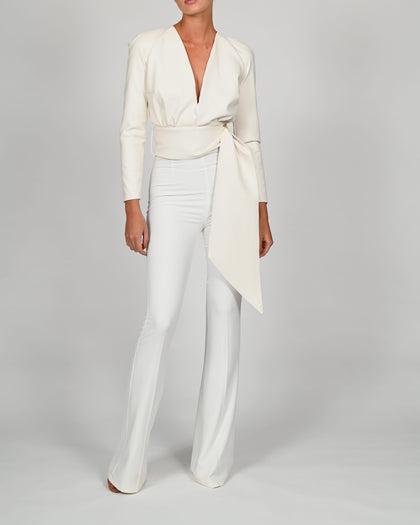 Terri Jacket in Ivory Leather