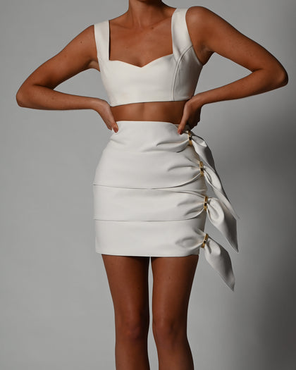 Terri Skirt in Ivory Leather