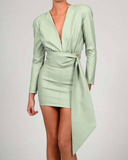 Terri Jacket in Mint Leather