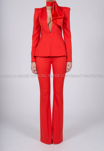 Faith Suit in Red Crepe