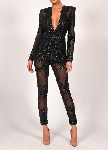 Burlesque Trouser Suit In Black