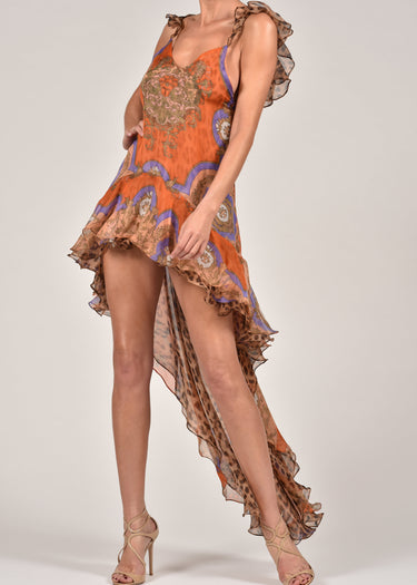 Krista Dress in Baroque and Leopard Silk