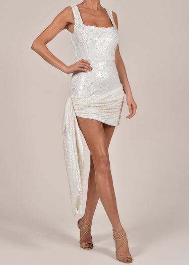 Cindy Dress in White Sequin