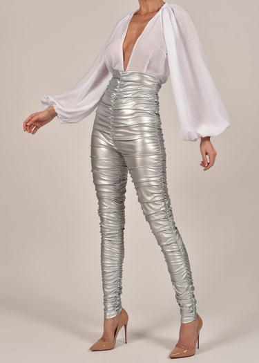 Kylie Leather Trousers in Silver